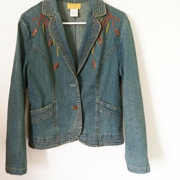 seandara Jackets & Blazers - Seandara jean jacket with embroidery XL